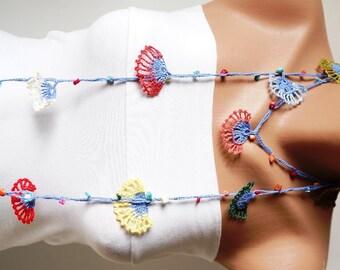 Clove flower, Spring Necklace, Lariat, Bracelet - Turkish lace Work-OOAK