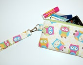 Floral Owls - Wristlet Purse with Removable Strap and Interior Pocket