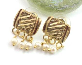 Gold Pearl Studs-Goldplated Silver Pearl Posts-Bridal Post Earrings-Wedding Earrings-Small Dangle Studs- Posts-Freshwater Pearl Earrings