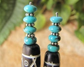 Turquoise and Bali Silver Carved Bone Hair Sticks - 4-1/2""