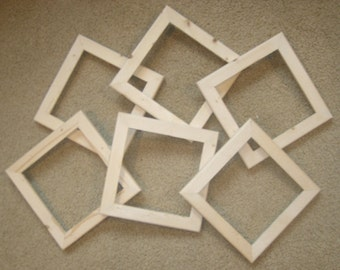"picture frames (6) unfinished 6x6's in a 1"" wide  rough cut  moulding"