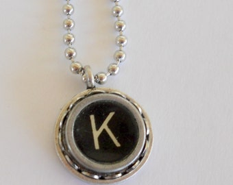 Recycled Jewelry Graduation Gift Author Books Antiques Journalist Typist Typewriter Key Necklace Vintage Initial All Letters Available