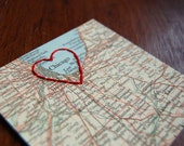 I Love Chicago, IL - vintage map embroidered with red thread heart / windy city, embroidery, red, blue, cream, midwest