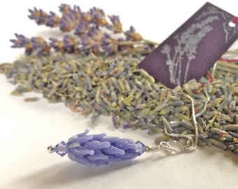 Lavender Glass Bead Pendant Small in Pale Purple with French Lavender Sachet Buds