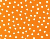 Remix fabric, Orange Polka Dot, Cotton fabric by the yard, Ann Kelle for Robert Kaufman, Basic Dots in Tangerine, Free Shipping Available
