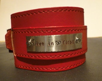 Leather CUFF Bracelets with Buckle - 2 inch wide X 9 3/4 inches long - 3 colors - use with rectangle bracelet blanks