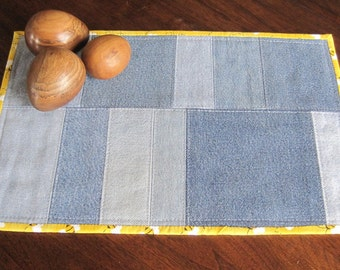 Denim table runner, place mat, upcycled fabric, quilted, 14.5 x 9.5.