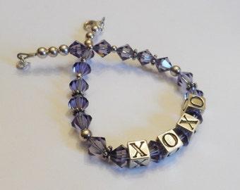 Sterling Silver and Purple Swarovski Crystal XOXO Hugs and Kisses Bracelet