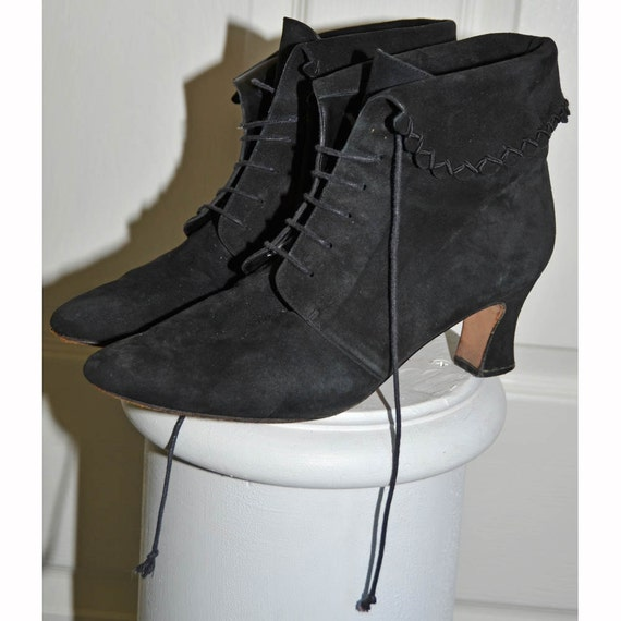 vintage black leather suede lace up ankle boots 9m by