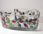 Pink Flowers Heart Candy  Dish