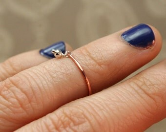 Dainty Knuckle Ring- Copper Above the Knuckle Ring with Tiny Charm- Midi Rings