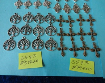 Choose your Charms Silver,Antiqued Silver, Ant, Copper, Tree of life, Hamsa, Cross 12 pcs S 543