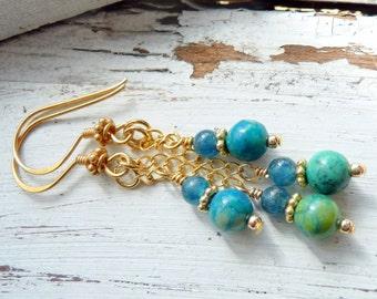 Handcrafted Blue Green Chrysoprase Kyanite Gemstone 14kt Gold OOAK Boho Beach Gift for Her Long Dangle Earrings