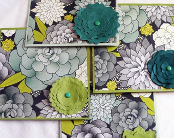 Card Set of 4 Cards Succulents Cacti 6 X 6 Square Cards