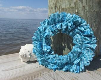 Tidepool Turquoise Aqua Homespun Fabric Rag Wreath  Spring Wreath Starfish Available