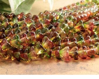Red Green Czech Glass Bell Flower Beads Peach Pear 6x8mm (25)