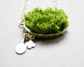 Sterling Silver Necklace with Faux Grass - My Garden - One of a kind