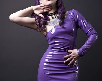 One Sleeve Asymmetrical PVC Dress-Made to Order