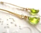 Peridot earrings Chartreuse Green Stick earrings August birthstone Vitrine Gift for her Under 60