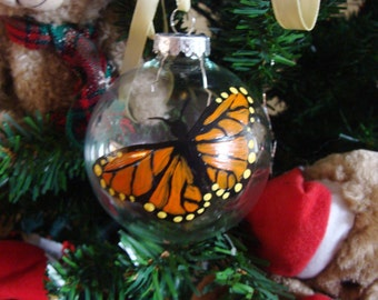 Monarch Butterfly Ornament Glass Hand Painted