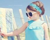 Retro style Turquoise Jewel neckline dress ..children girls clothing