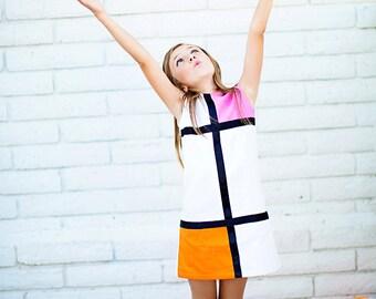 SALE!!Retro 1965 Color Block Pink and Orange  Mini Dress children girls clothing