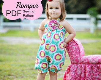 Baby Bubble Romper Pattern Tutorial PDF ebook -- Shirred Bubble Romper -- preemie through 4t INSTANT