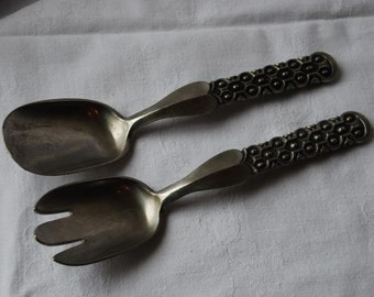 Vintage David Andersen of Norway Modernist Pewter Salad Spoon Fork Serving Set 1960's