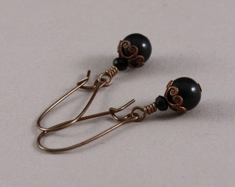 Vintaj natural brass earrings with Swarovski Mystic Black and Jet by EarthsOpulence