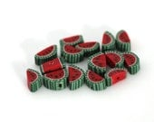 Watermelon Beads, Polymer Clay Fruit Beads, Red Green Melons 15 Pieces