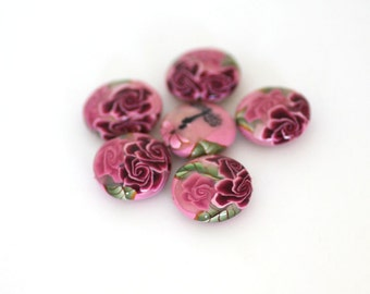 Pink Rose Beads, Polymer Clay Lentil Beads with Dragonflies, Sweetheart Flowers 6 Pieces