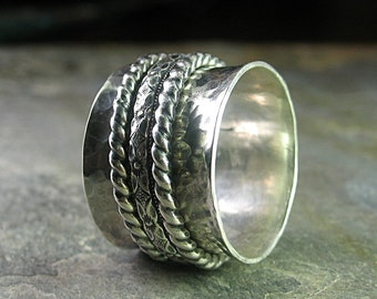 Spinner ring meditation ring worry ring wide band sterling silver - Petite Fleur