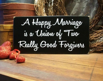 Wood Sign A Happy Marriage Wedding Anniversary Wall Decor Newlyweds Funny