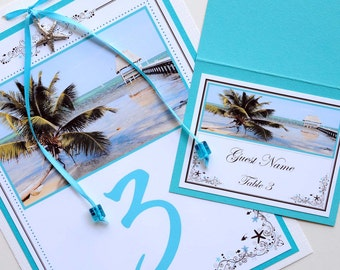 Tropical Beach Destination Wedding Table Numbers and Place Cards - Turquoise Belize Beach