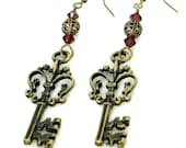 Antiqued Brass Ornate Skeleton Key Earrings with Filigree and Burgundy Swarovski Crystal Beads by Velvet Mechanism