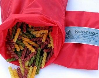 Reusable bulk  food bag, food pouch, snack bag, bulk bin bag, lightweight food bag, food sack, red bag, medium bag