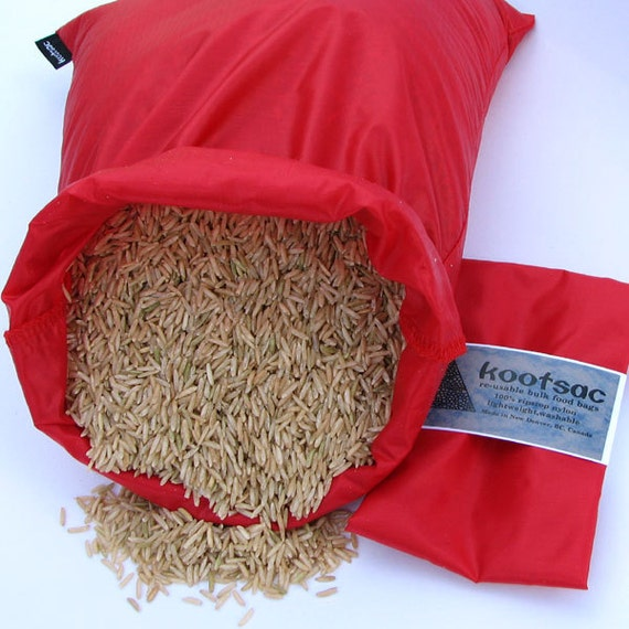 Reusable bulk bin bag, reusable produce bag, rice bag, market shopping bag, food sack, bulk food bag,  ripstop nylon bag, red, large