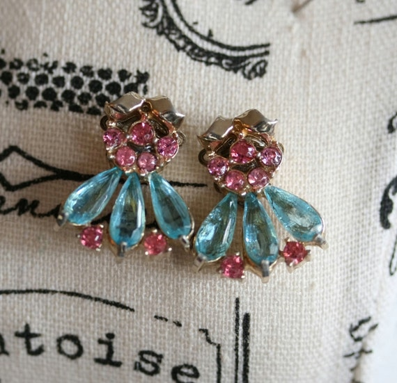 Rhinestone Earrings, Vintage Pink and Blue Earrings, Gold Earrings, Pierced Stud Earrings, Wedding Earrings, Special Occasion