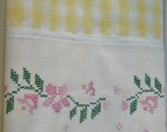 Recycled Vintage Pillowcase to Upcycled Tea Towel Flower Vines Yellow White Check - Homespun Kitchen Decor - Pink Vintage Button - Crochet