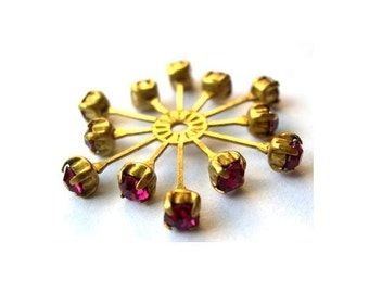 Vintage SWAROVSKI flower bead 32mm fuschia pink crystals in brass setting  genuine 1100 made in Austria