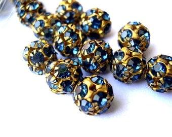 2 Vintage Swarovski beads, dark blue crystals in brass setting creating ball shape 10mm RARE