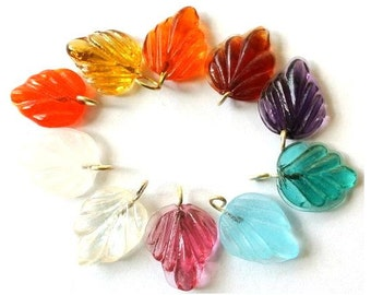 60 Vintage glass dangling beads leaf shape with self loop 10 colors 15mmx12mm