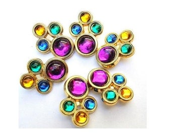 6 Vintage buttons, Jewel trim buttonss with assorted colors rhinestones, suitable for button jewelry, large
