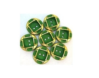 4 Vintage plastic buttons, green with gold color trim 18mm