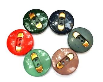 6 Vintage plastic buttons, 6 color with gold color trim, 28mm
