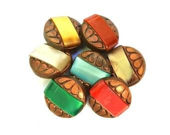 42 Antique vintage buttons, bronze color plastic buttons with 7 colors trims, 18mm beautiful buttons