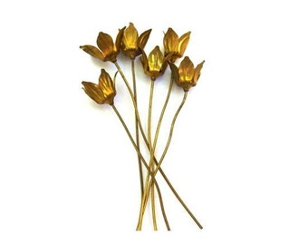 6 headpin metal flowers, RARE vintage, the flower is 9mm height, the metal pin is 67mm