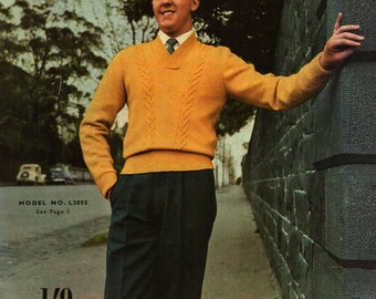 Vintage Mad mens hand knitting patterns 1950s mid century Sweaters Book 759