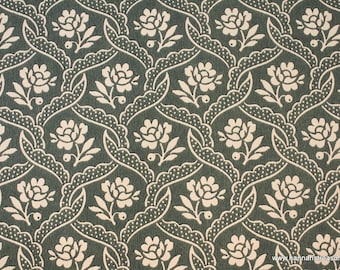 1940s Vintage Wallpaper by the Yard - Floral Wallpaper with Cream Flower Design on Green