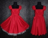 40s 50s RockaBilly Swing Dance Red Pin Up Dress US Size 10 12 14